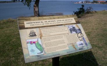 A marker on the Fort San Carlos Plaza in Old Town Fernandina notes the story of the slave ship Guerrero, which hit a reef off of Key Largo in 1827 while on its way to Cuba carrying 561 enslaved Africans. Three hundred and ninety-eight surviving captives were sold as slaves. Two years later, 100 of the remaining people who survived the ordeal were taken from Fernandina to Africa by the U.S. government. PEG DAVIS/NEWS-LEADER