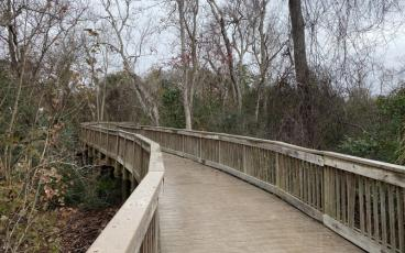 The boardwalk entrance to the south side of the Egans Creek Greenway provides a fully accessible nature trail for those with limited walking abilities. PAT FOSTER-TURLEY/FOR THE NEWS-LEADER