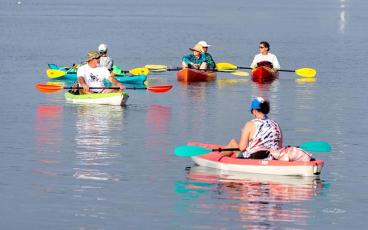 Participants hit the water in St. Marys Saturday morning for the Paddle for Veterans. SPECIAL PHOTO