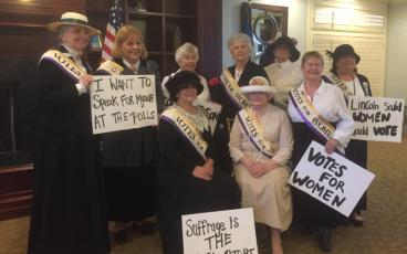 Amelia Island Chapter Daughters rally for the vote in their Suffragist attire. SUBMITTED