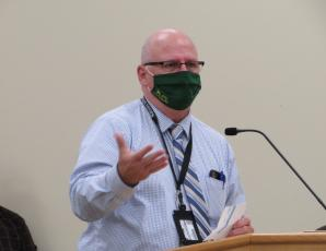 Assistant Schools Superintendent Mark Durham gave a report to the Nassau County School Board on the positive cases of the novel coronavirus detected so far in the district after being given permission to do so by the Florida Department of Health. JULIA ROBERTS/NEWS-LEADER