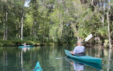 Kayaking is easy on the Silver River, with a slow current that is easy to paddle against on the return trip to the starting point. With crystal clear water, the mullet, bream and gar in the springs are visible from a kayak. PAT FOSTER-TURLEY/FOR THE NEWS-LEADER