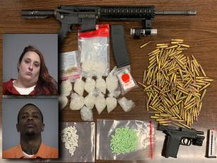 Gay's and Broderway's mugshots along with the drugs and guns displayed by the Nassau County Sheriff's Office. NCSO