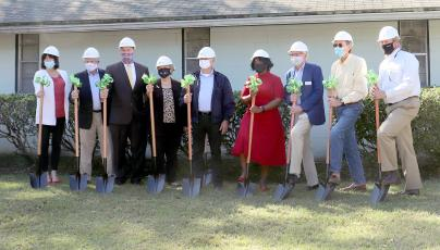 Nassau County Council on Aging representatives, Hilliard Mayor Floyd Vanzant and other officials break ground during a ceremony Monday morning in Hilliard. The Westside Senior Life Center will receive several upgrades.