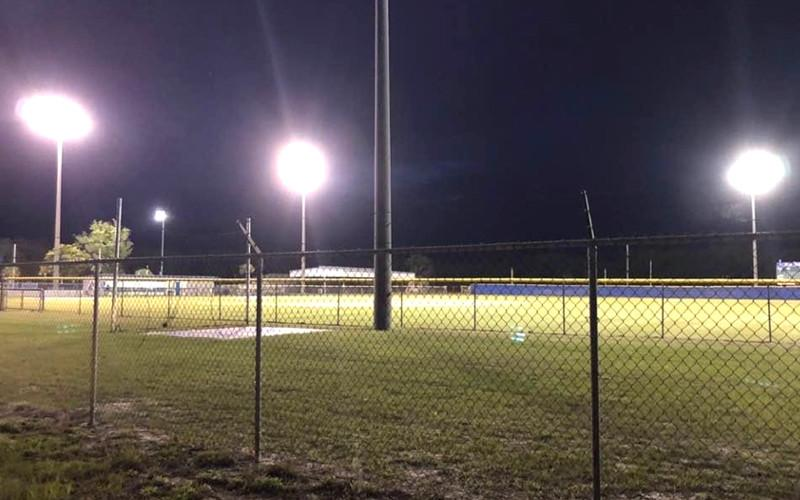 The lights were on at the Ballpark at Fernandina Beach for 20 minutes Tuesday night to honor the Pirates' 12 seniors. SPECIAL PHOTO