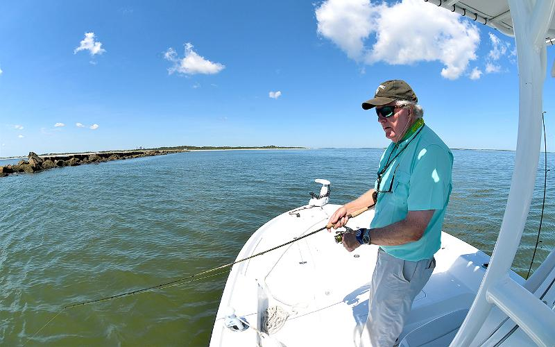 Keith Williams loves his 24-foot Yellowfin bay boat powered by a 300-hp Mercury V-8 outboard. The step hull allows for better fuel efficiency and speedy navigation to his fishing holes. TERRY LACOSS/FOR THE NEWS-LEADER