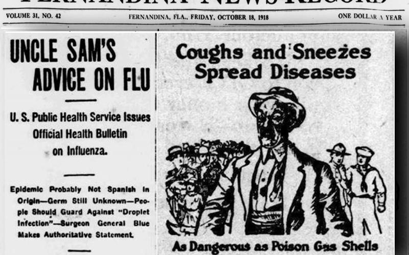 A cartoon from 1918 illustrating the dangers of the influenza virus.