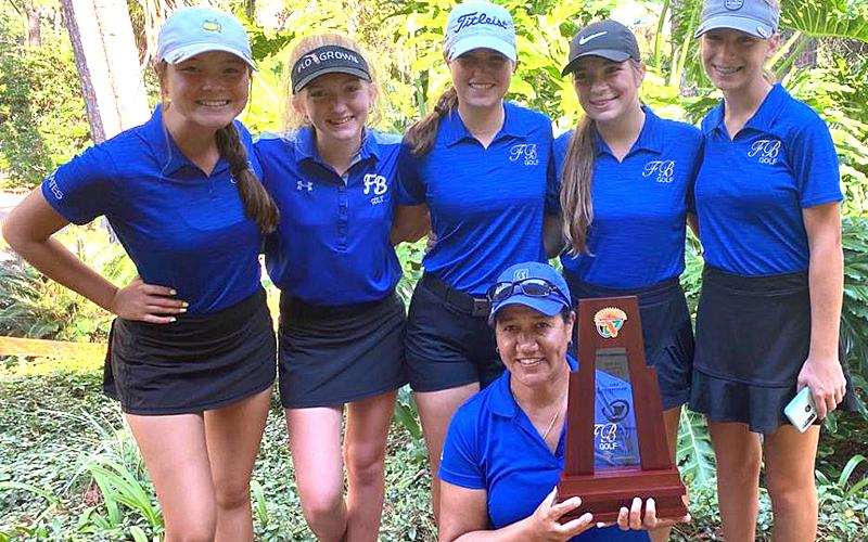 The Fernandina Beach High School girls golf team includes, kneeling, Coach Christina Steffen; back row from left, Anika Richards, Brighton Burkhart, Daisy Adams, Ella Childs and Maddy Campbell. SUBMITTED