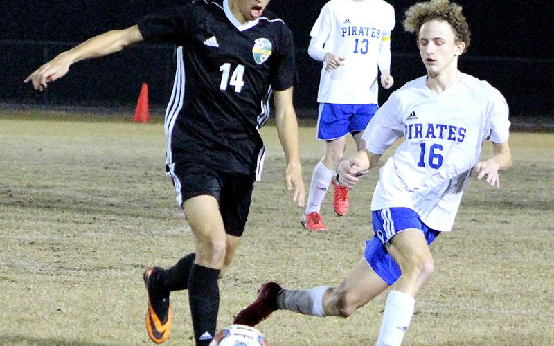 The Yulee High School boys soccer team hosted Fernandina Beach Friday in a District 4-4A semifinal match. The YHS Hornets beat the FBHS Pirates 3-1 to advance.